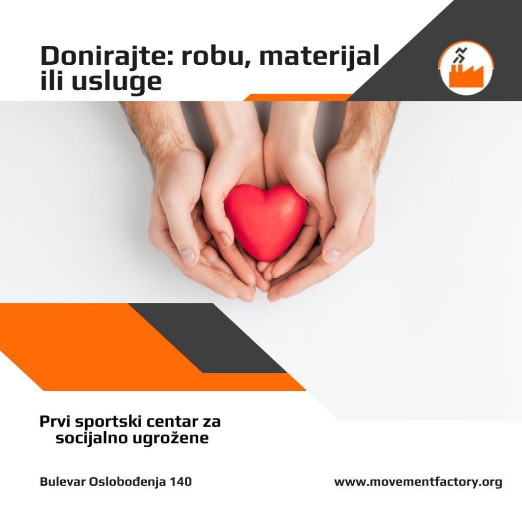 Donirajte: robu materijal ili usluge